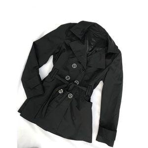 Express • Black Classic Trench Coat • Medium •NWOT